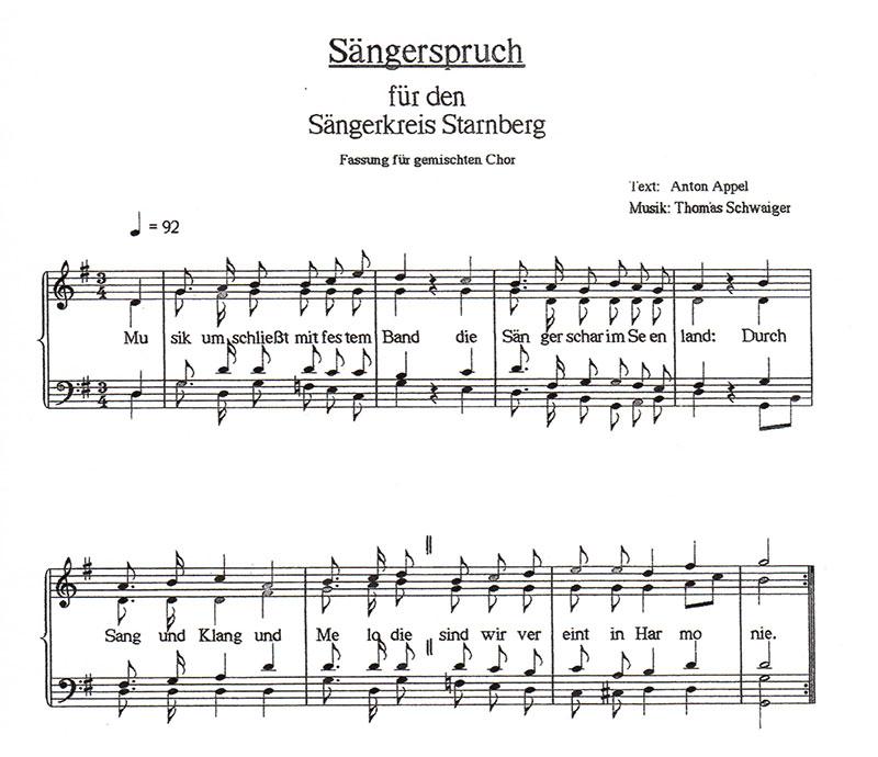 Sängerspruch gemischte Chöre Sängerkreis Starnberg